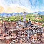 Siena - ink and watercolor illustration