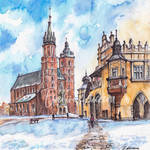 Cracow, Poland - ink and watercolor illustration