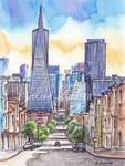 San Francisco - ink and watercolor illustration by Kot-Filemon