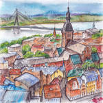 Riga - ink and watercolor illustration