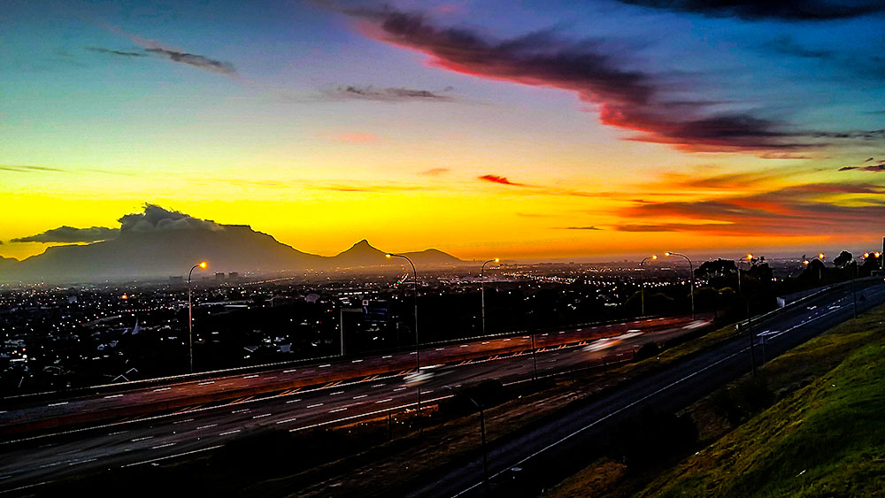 Table Mountain from Tygerberg hill by Zaleeu