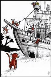 Inktober #25 Monkey Island by teeyu