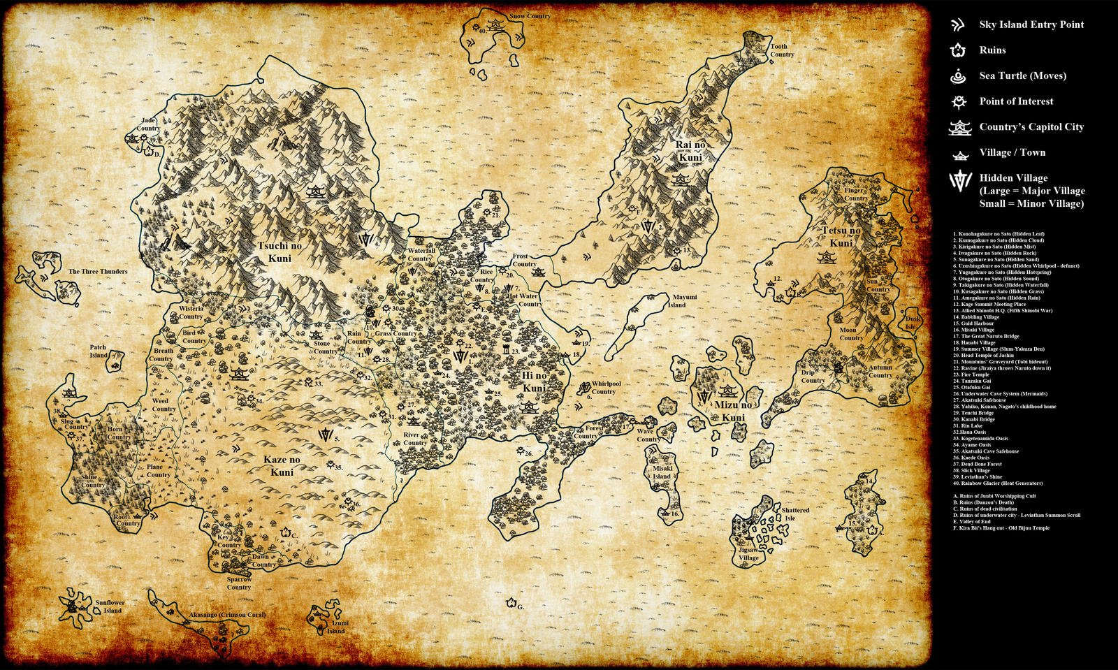 Fanon Naruto Map Detailed By Araceil On Deviantart