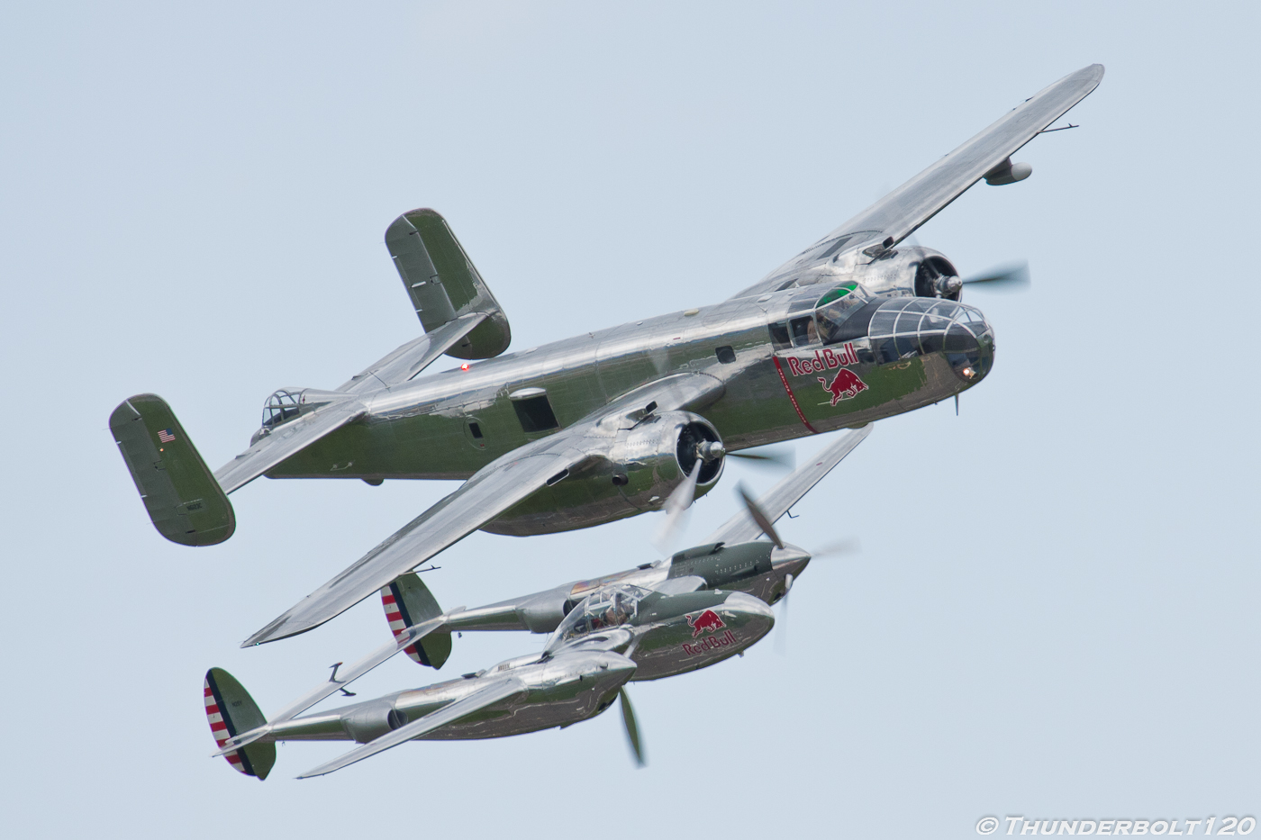 B-25J and P-38