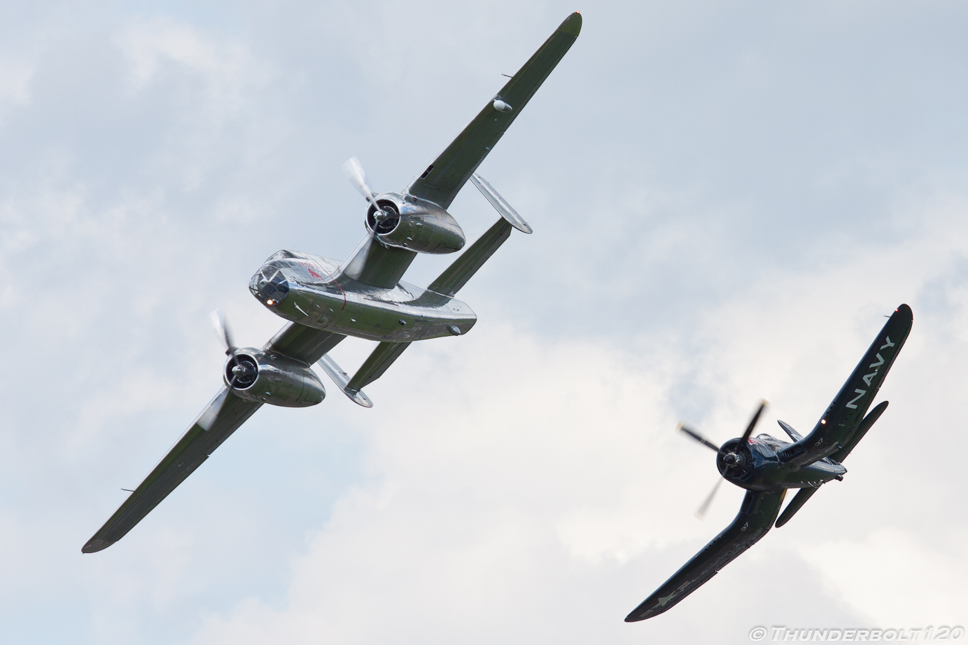 B-25J and F4U