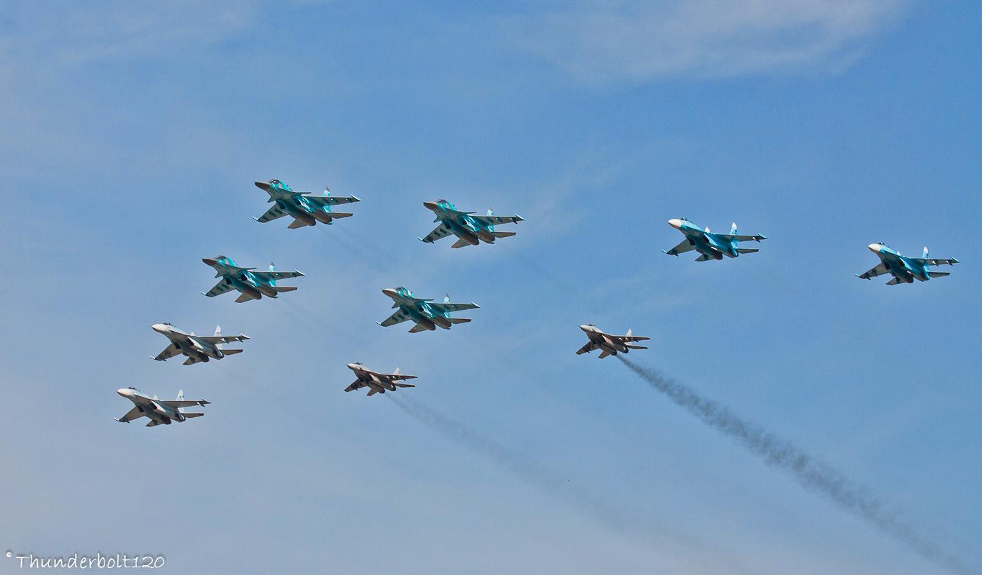 4x Su-34 and 4x Su-27 and 2x Mig-29