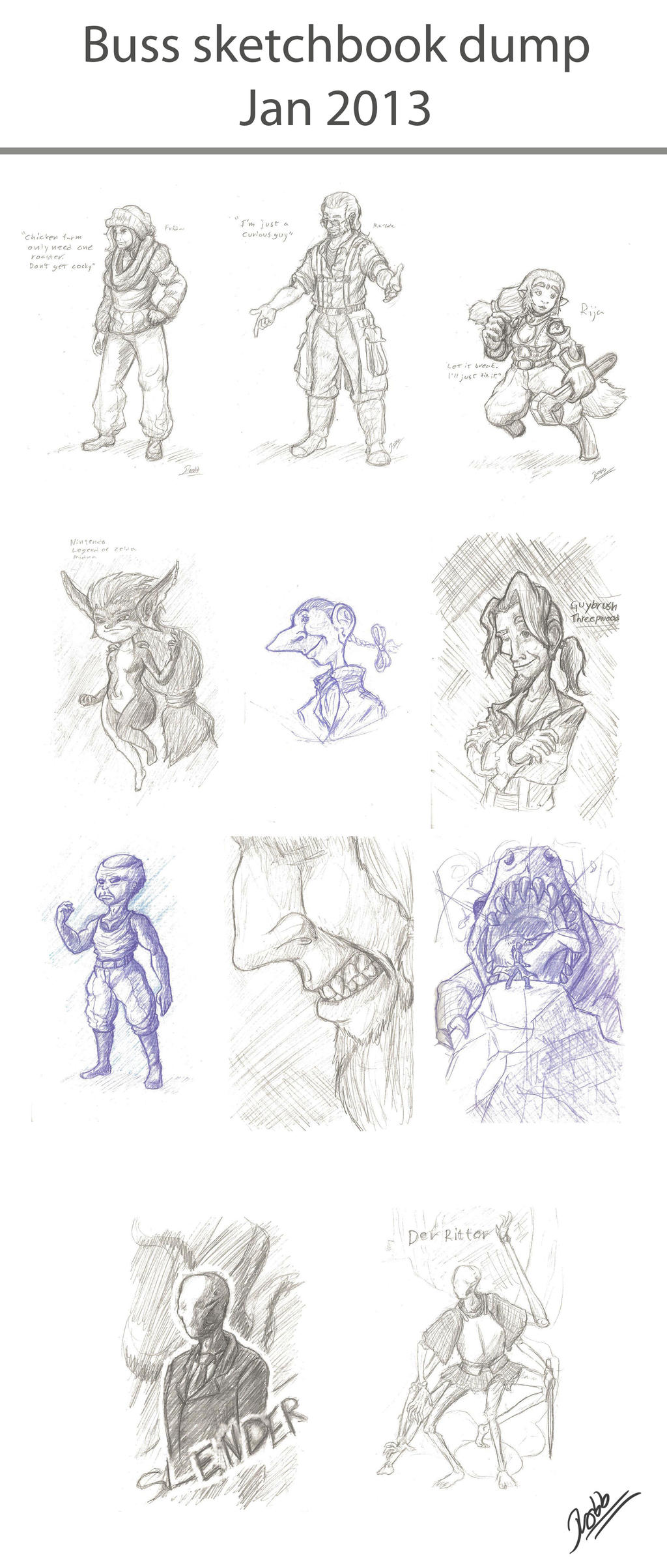 Sketchdump Jan 2013 by HatPup