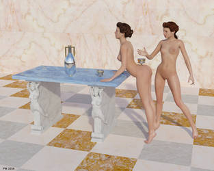 Roman Girls at Table by Modele-Citizen