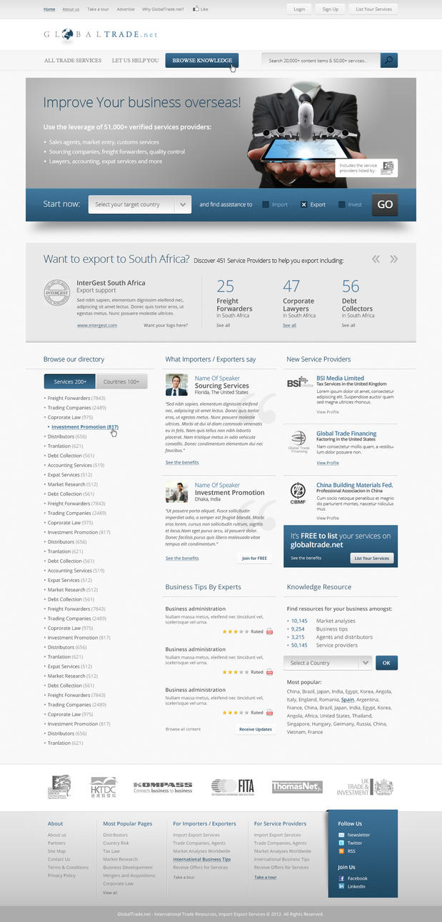 Globaltrade.net website design by fuxxo