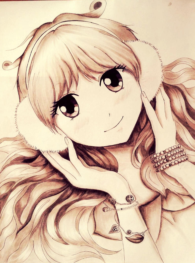 smiling anime girl with ear muffslunagattina on deviantart
