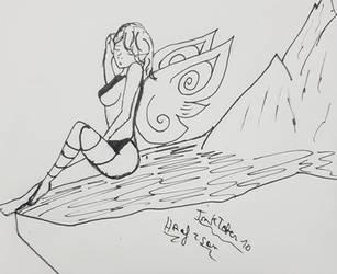 Inktober 10: Flowing by Hraf-san