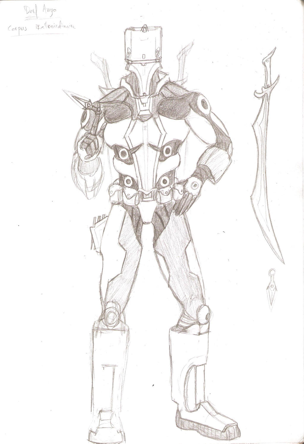 Warframe concept - Derf Anyo scrapped by Sil-Pencil