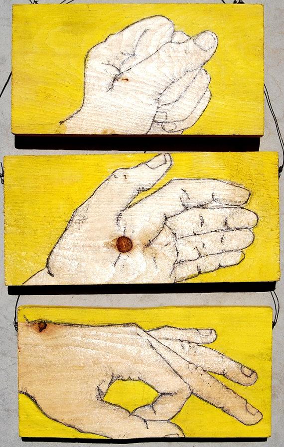 Rock Paper Scissors / Hands on Wood by revolta