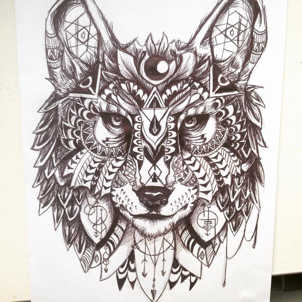 Line Drawing Animal Tattoos : Geometric wolf design by maddiecadecade on deviantart