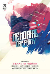 Memorial Day Party Free PSD Flyer Template by 99flyers
