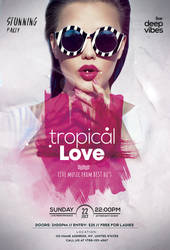 Tropical Love Party Free PSD Flyer Template by 99flyers