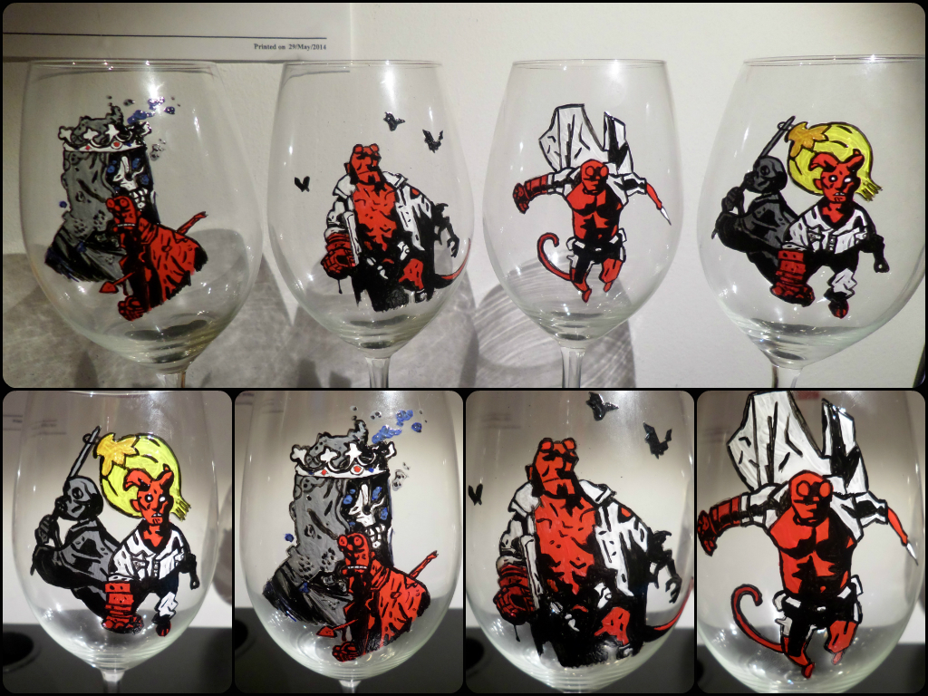 Hellboy Wine Glasses by maja135able