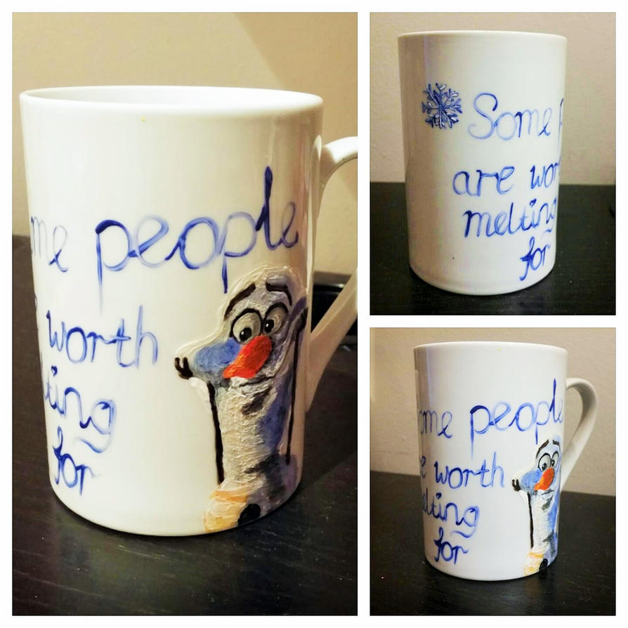 Hand Painted Frozen Olaf Mug by maja135able