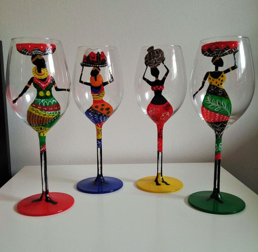 Hand painted wine glasses with african theme by for What paint do you use to paint wine glasses