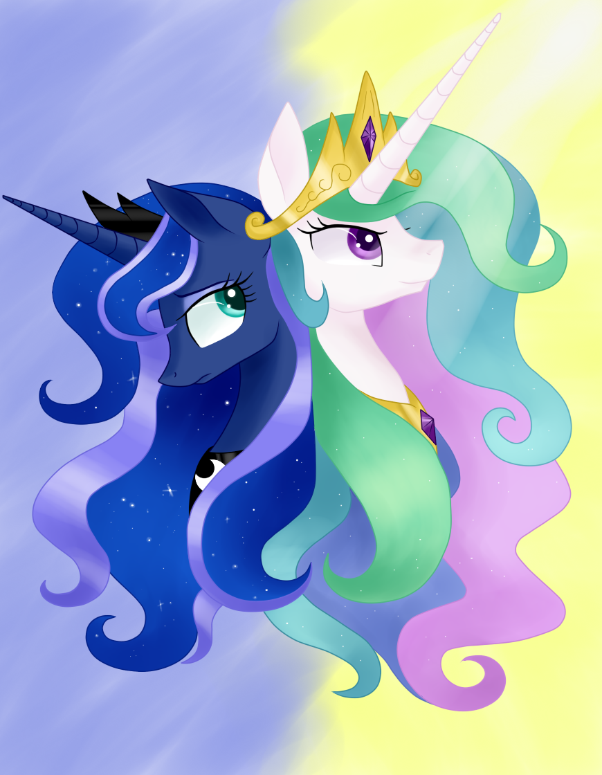 Two Royal Sisters: Celestia and Luna by JustBrohoof