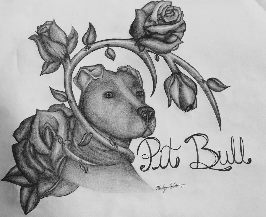 pit bull and roses by starlitefairy24
