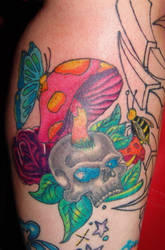 skull mushroom tattoo by starlitefairy24