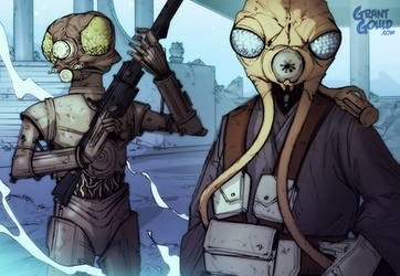 Star Wars Illustrated ESB: 4-LOM and ZUCKUSS by grantgoboom