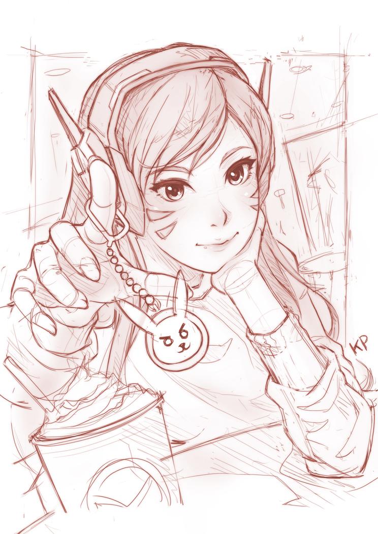 Overwatch:D.VA_(rough sketch) by subaru01rins