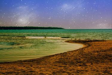Beach At Night by jazzedbird