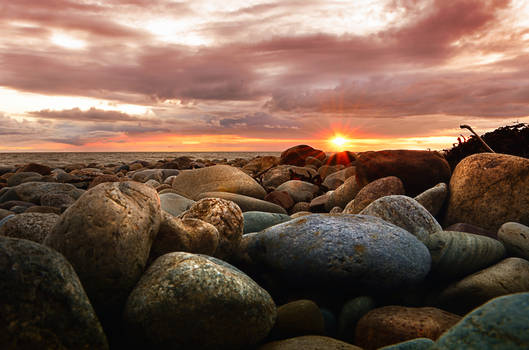 Sunset over Dinas Dinlle