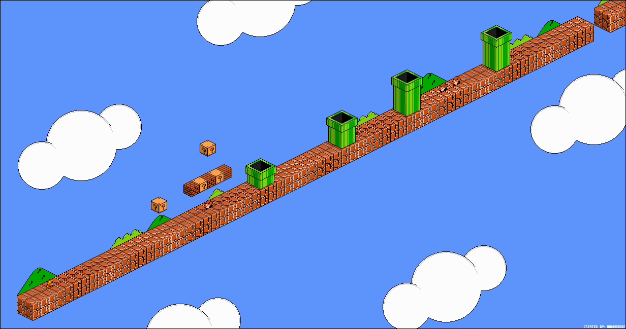 super mario bros world 1 1 isometric pixelart by andersnor on deviantart. Black Bedroom Furniture Sets. Home Design Ideas