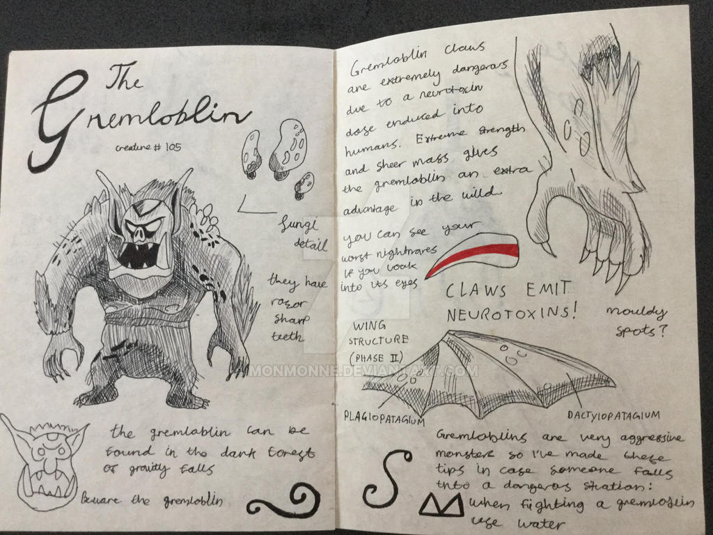 Gravity falls Gremloblin journal page