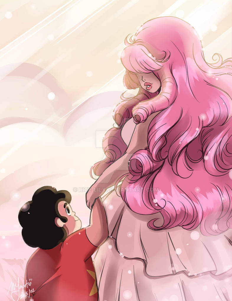"""Sometimes, I dream about you"" My first Rose Quartz attempt, I'd like to think that Rose visits Steven in his dreams. First starting out as a really vague figure then the more he learns about..."