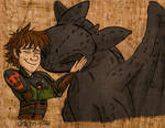Toothless and Hiccup Huggle