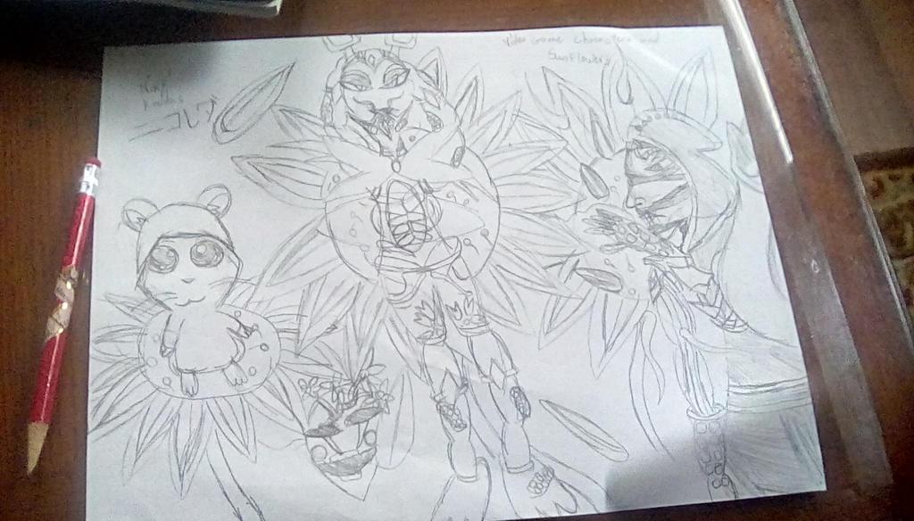 Videogame Characters and Sunflowers by KirbyBisharp