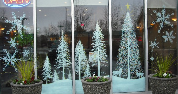 Snow Trees and Christmas tree by Window-Painting on DeviantArt