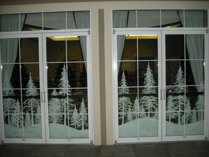 Snowy Forest Double Doors By Window Painting On Deviantart