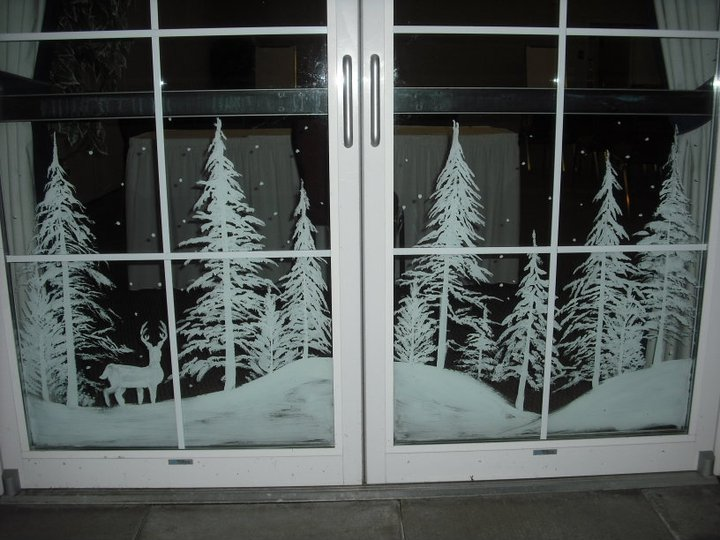 Snowy forest doors by window painting on deviantart for Sticker fenetre noel