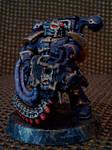 Black legion space marine with havoc bolter