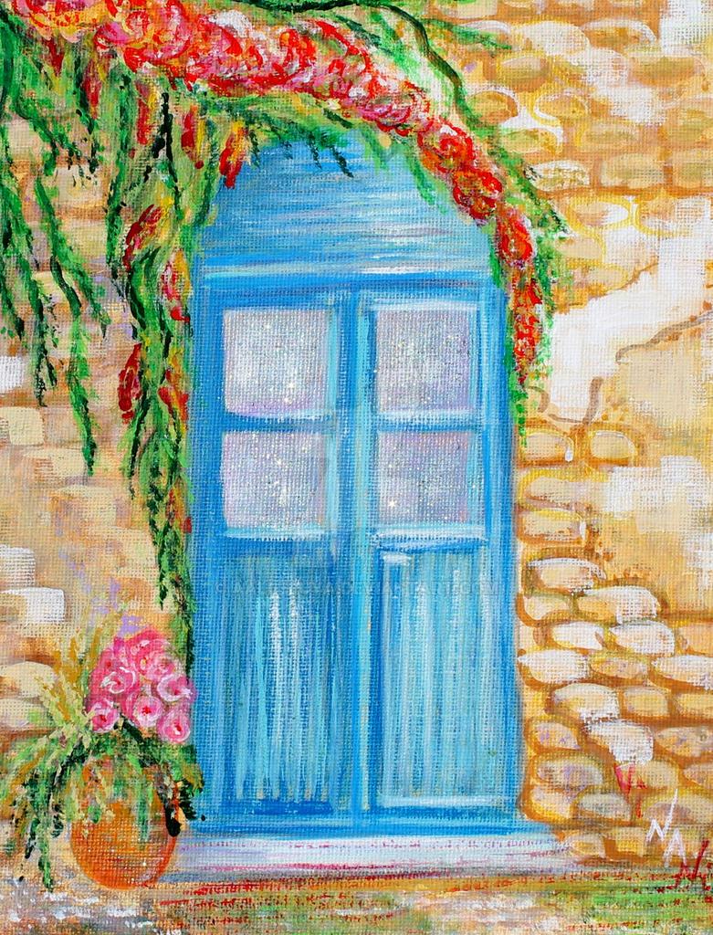 A Blue Door. Acrylic on canvas. 18x24 (4) by aalleluya
