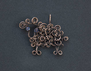 Copper Wire Sheep Pendant, Handmade