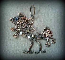 Copper bird pendant, Paradise bird, Wire Wrap