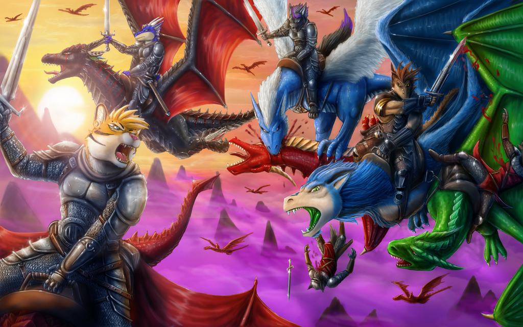 Wyvern riders by Max-Dragon