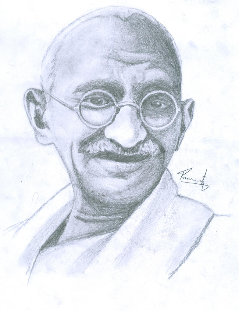 portrait of gandhi by praneeth388