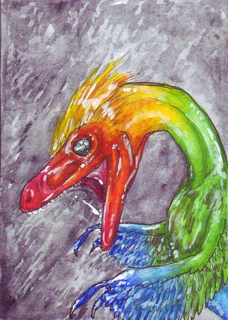 ACEO Velociraptor by SybilaSulfur