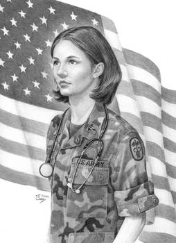 Army Nurse with Flag