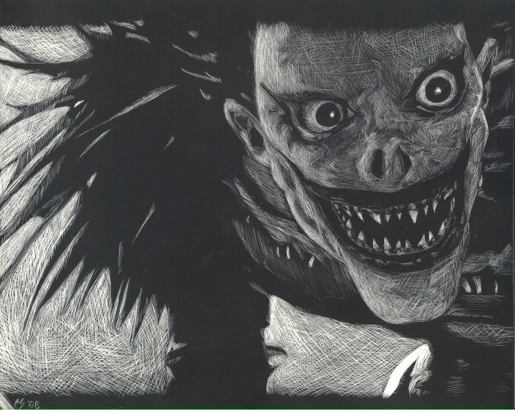Comme si je n'existais pas Ryuk_scratchboard_by_digitalreplicant