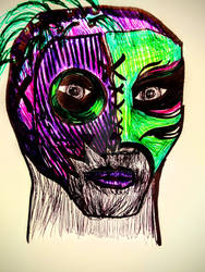 Lucha Mask Pen Sketch
