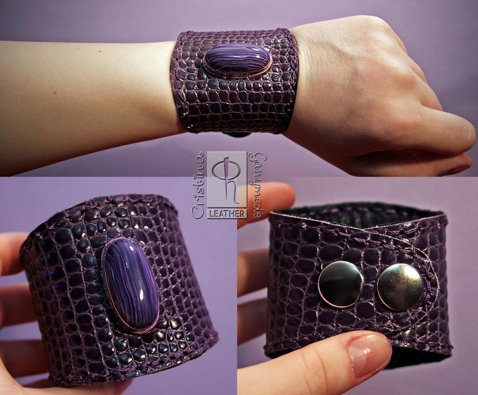 HandMade Violet Snakeskin Cuff/Bracelet by CRISTYNNA-NECROPOLIS