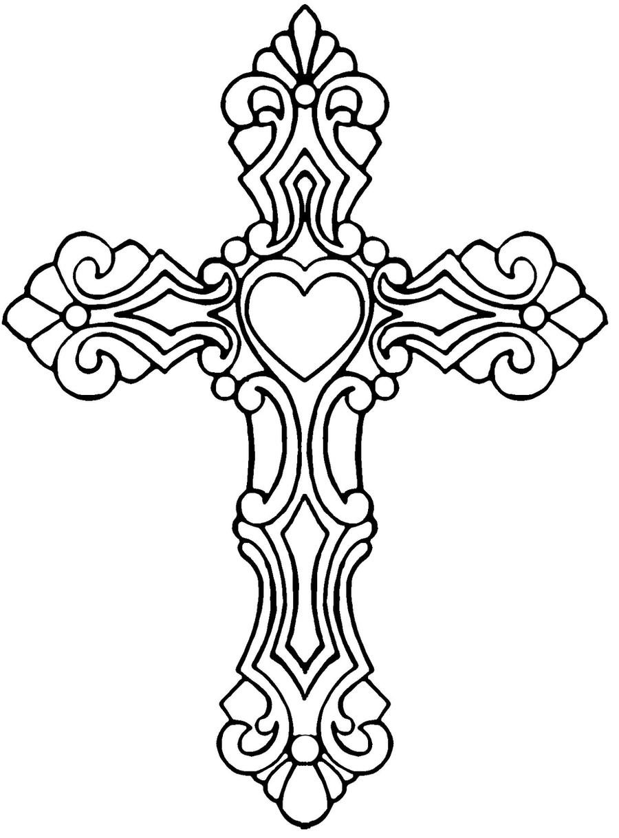 Line Art Cross : Cross with heart by satiricmilk on deviantart